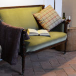 Antique sofa with cotto tiles luxury holiday rental Tuscany